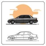 Den högvärdiga retro bilsidan tävlar stock illustrationer