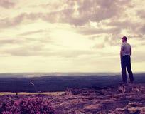 Den högväxta fotvandraren eller idrottsmannen på klippan i steniga berg parkerar och håller ögonen på ner landskap Royaltyfri Foto