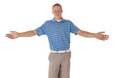 Den högväxta rödhåriga mannen som var tonårig med armar, sträckte ut att le Royaltyfri Foto