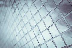 Den h?rliga closeupen texturerar abstrakta tegelplattor och vit f?rgglasv?ggbakgrund f?r den silver och och modellen arkivbild