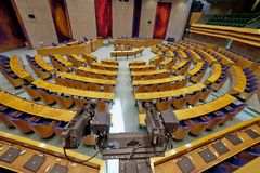 Den Haag, The Netherlands - August 29, 2012: Interior of the empty plenary hall of the House of Representatives royalty free stock photos