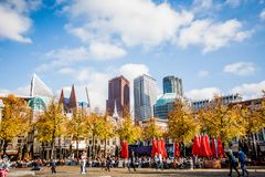 DEN HAAG SKYLINE MODERN AND OLD ARCHITECTURE Royalty Free Stock Photo