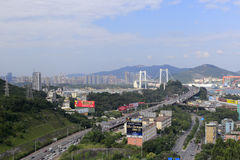 Den Haicang bron och bron att närma sig, den amoy staden, porslin Royaltyfria Bilder