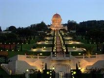 Den Haifa Bahai Gardens natten tänder Juni 2003 Royaltyfri Fotografi