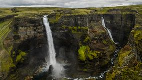 Den Haifoss vattenfallet i södra Island arkivfoto