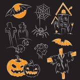 den halloween illustrationen skissar Arkivfoton
