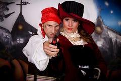 den halloween ladyen piratkopierar Arkivfoton