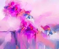 Den halva abstrakta bilden av blommor, i gula rosa färger och rött med blått färgar Olje- målningar för modern konst för bakgrund stock illustrationer