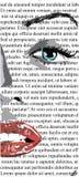 Den halva framsidan av flickan med röda kanter på den vita tidningen gillar bara lin monroe gemkonst av en härlig kvinna med röda arkivfoton