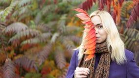Den halva längdståenden av den unga kvinnlign i hösten parkerar med färgrika sidor royaltyfri fotografi