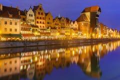 Den hamnkranen och staden utfärda utegångsförbud för Zuraw, Gdansk, Polen Royaltyfria Bilder