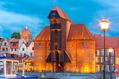 Den hamnkranen och staden utfärda utegångsförbud för Zuraw, Gdansk, Polen Arkivbilder