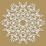 den handgjorda doilyen snör åt Härlig elegant tappning stucken spets- napk stock illustrationer
