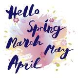 Den handskrivna moderna märka Hello fjädrar, mars, Maj, April isolerade på vattenfärgefterföljdbakgrund Arkivfoton