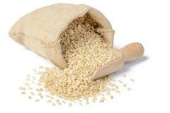 Den har en mild nötliknande anstrykning, är mer seg och mer näringsrik än vita ris royaltyfria bilder
