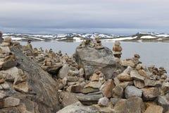 Den Hardangervidda platån i den Hallingskarvet nationalparken, Norge, Europa, med sjön Ustevatn Royaltyfri Foto