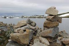 Den Hardangervidda platån i den Hallingskarvet nationalparken, Norge, Europa, med sjön Ustevatn Royaltyfri Fotografi