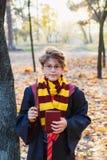 Den Harry Potter pojken i exponeringsglas står i höst parkerar med bladguld, rymmer boken i hans händer royaltyfri bild