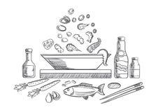 Den havs- maträtten skissar med fisken och grönsaker Arkivfoton