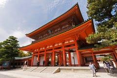 Den Heian Jingu relikskrin är en av den berömda relikskrin i Kyoto Royaltyfri Fotografi