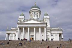 Den Helsinski domkyrkan i den gamla staden av Helsinski, Finland Arkivbilder