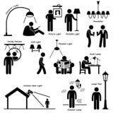 Den hem- husbelysninglampan planlägger Cliparts Arkivfoto
