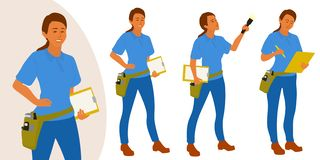 Den hem- inspektörkvinnan poserar uppsättningen för infographics eller annonsering stock illustrationer