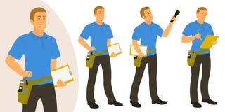 Den hem- inspektörmannen poserar uppsättningen för infographics eller annonsering stock illustrationer