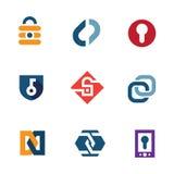 Den hem- internet säkrar symboler för logo för teknologi för låssäkerhetssystem royaltyfri illustrationer