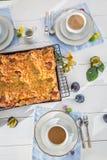 Den hemlagade kakan med plommonet tjänade som med kaffe i sommar fotografering för bildbyråer