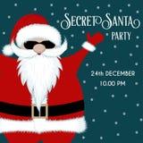 Den hemliga jultomten festar inbjudan stock illustrationer