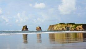 Den Hendaye stranden och kopplar samman Fotografering för Bildbyråer