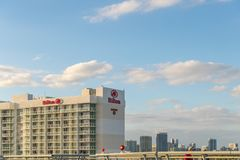 Den Hilton Bentley Miami /South stranden som lokaliserades på drev för 101 hav, sköt i Miami Beach FL, USA Arkivbild