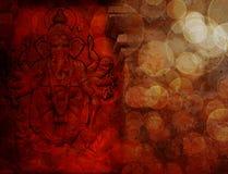 Den hinduiska guden Ganesh med många beväpnar röd Grunge Royaltyfria Bilder