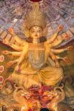 Den hinduiska gudinnan Durga tillbad Arkivbild