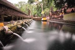 Den rituella badningen slår samman på Puru Tirtha Empul, Bali