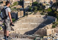 Den historiska Amman citadellen, Jordanien arkivbild