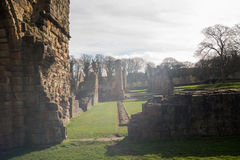 Den historiska Basingwerk abbotskloster fördärvar i Greenfield, nära Holywell norr Wales Royaltyfria Foton