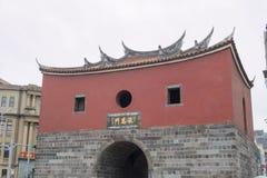 Den historiska Cheng En Gate under repairmentkonstruktion Arkivfoto