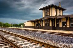 Den historiska drevstationen i Gettysburg, Pennsylvania Arkivfoton