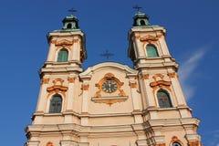 Den historiska kyrkan av gudomlig försyn i Bielsko-BiaÅ 'a från det 18th århundradet royaltyfria bilder