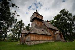 Den historiska kyrkan i Grywald, Polen. Arkivfoton