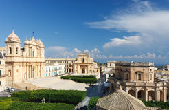 Den historiska mitten av den barocka staden av Noto, Sicilien, UNESCOvärldsarv Arkivbild