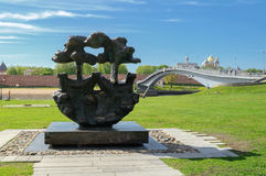 Den historiska mitten av Veliky Novgorod Hanseatic tecken Arkivfoto