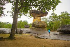 Den historiska Phu-Pra- bahten parkerar arkivfoto