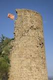 Den historiska slottflygspanjoren sjunker nära by av Solsona, Cataluna, Spanien Royaltyfria Foton