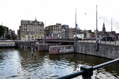 Den historiska staden av Amsterdam Arkivfoton
