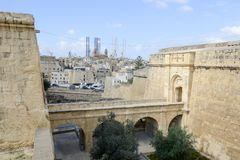 Den historiska staden av Birgu Vittoriosa, Malta Arkivbilder