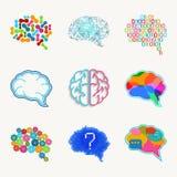 Den hjärn-, skapelse- och idévektorsymbolen ställde in stock illustrationer