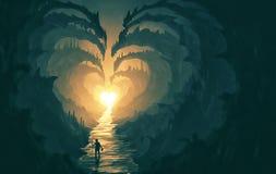 Den hjärta formade banan vaggar igenom stock illustrationer